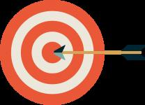 arrow striking target